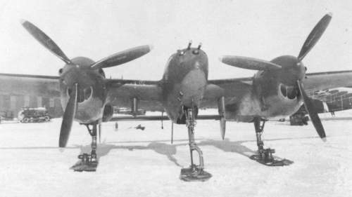 P-38J fitted with retractable skis, Alaska 1944.